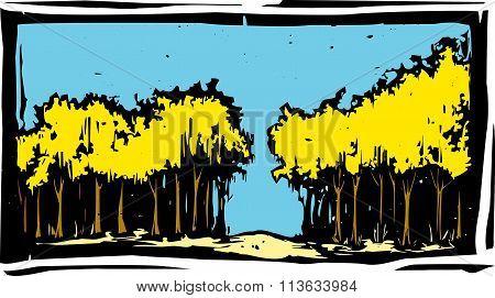 Woodcut Autumn Trees