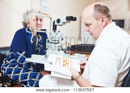 Male ophthalmologist or optometrist at work