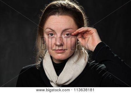 Young Sad Woman, Wiping  Tears