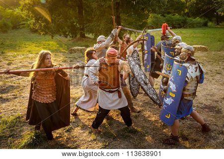 Neptun, Romania - July 28, 2015 - Ancient Festival - Reenactment Of The Roman And  Dacian (thracian)