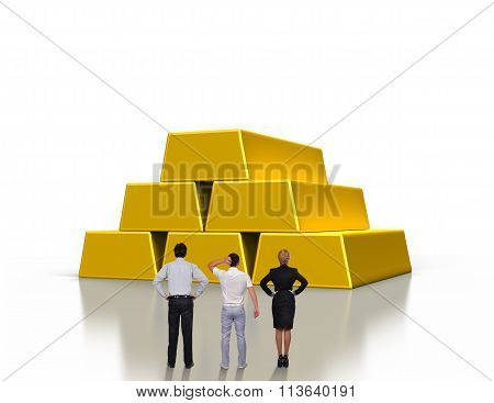 People Looking On Gold Ingots