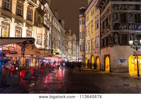 Male Namesti Street In Prague At Night