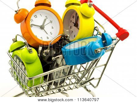 Color Alarm Clocks In The Metal Trolley