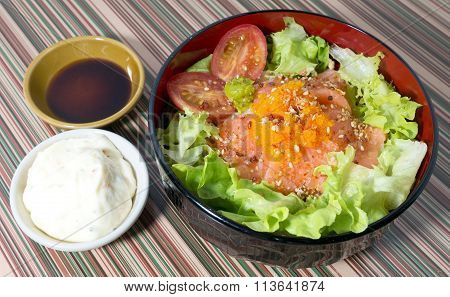 Bowl Of Boiled Rice With Salmon And Vegetable