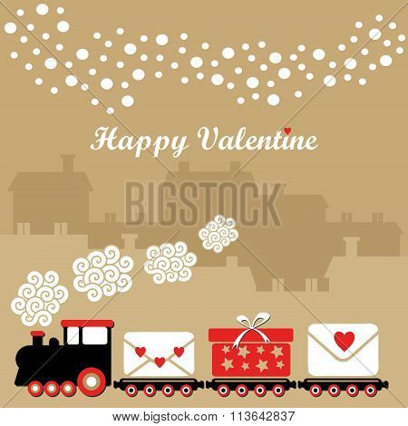 Cute Valentine Card With Train, Letters And Gifts, Vector