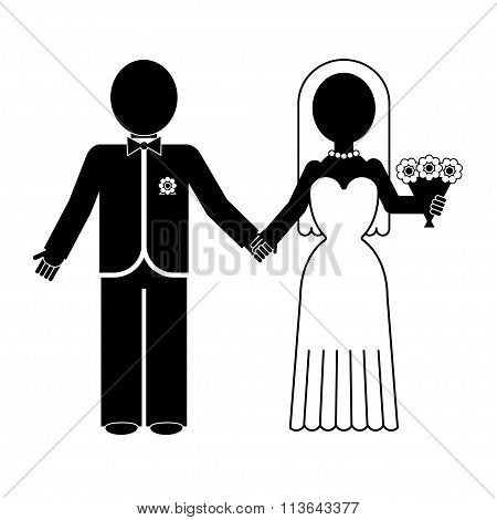 Bride and groom silhouette. Vector icon.