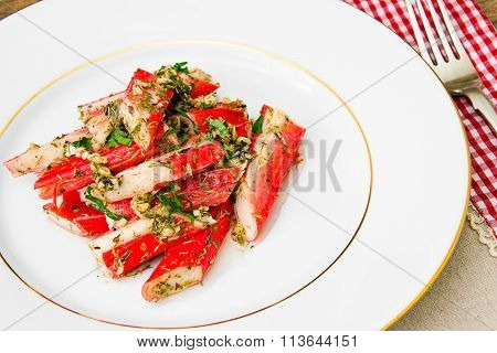 Marinated Crab Sticks in Butter with Lemon