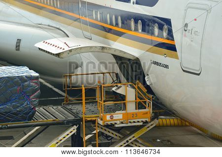HONG KONG - NOVEMBER 03, 2015: The Airbus A380 of Singapore Airlines. Singapore Airlines Limited is the flag carrier of Singapore with its hub at Changi Airport