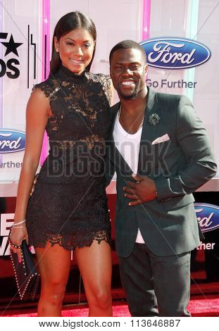 Kevin Hart and Eniko Parrish at the 2014 BET Awards held at the Nokia Theatre L.A. Live in Los Angeles, USA on June 29, 2014.