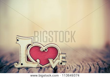 Wedding or Valentines Day background with love heart.