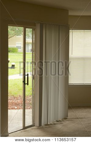 Sliding Door In Empty Apartment