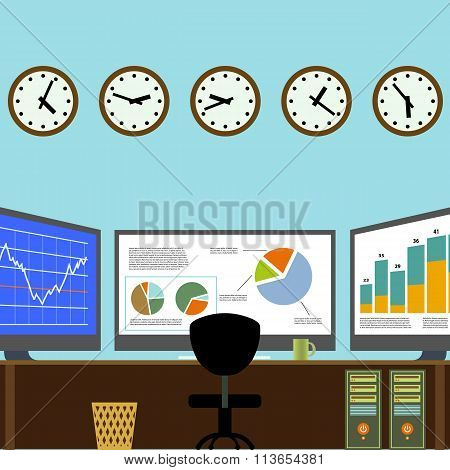 Workplace Broker. Stock Illustration.