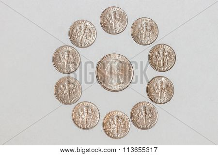 Coins in a Circle around a Quarter