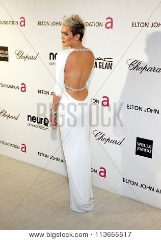 Miley Cyrus at the 21st Annual Elton John AIDS Foundation Academy Awards Viewing Party held at the West Hollywood Park in Los Angeles, USA on February 24, 2013.