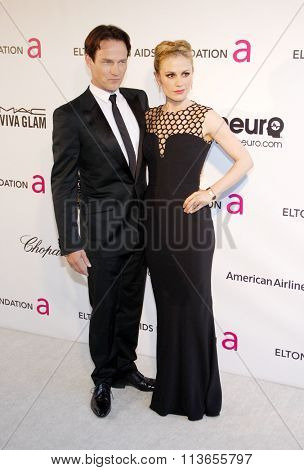 Stephen Moyer and Anna Paquin at the 21st Annual Elton John AIDS Foundation Academy Awards Viewing Party held at the West Hollywood Park in Los Angeles, USA on February 24, 2013.