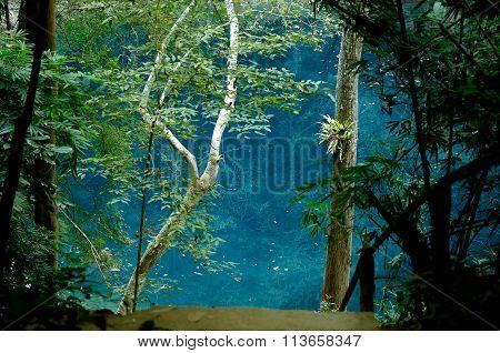 Wonderful Blue Water In Crater Thailand, Lom Pu Keaw Lagoon Lampang