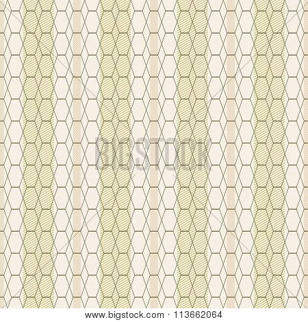 Seamless Pattern Of Hexagons And Rhombuses On Striped Background