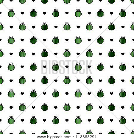Bug green and black hearts seamless vector pattern