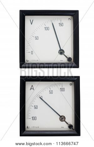 Analog Instruments Ammeter And Voltmeter Isolated On White