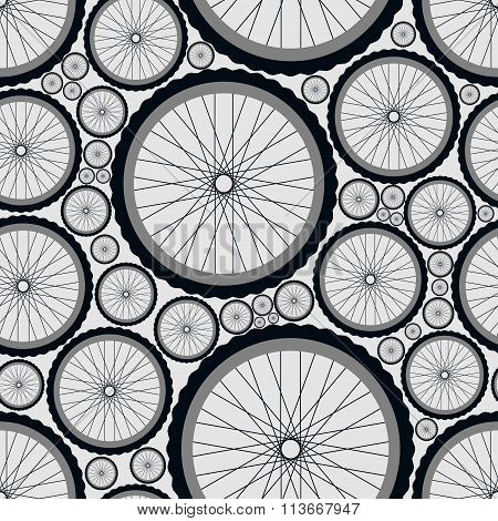 Seamless pattern with bike wheels. Bicycle wheels with tires, rims and spokes. Gray vector illustrat