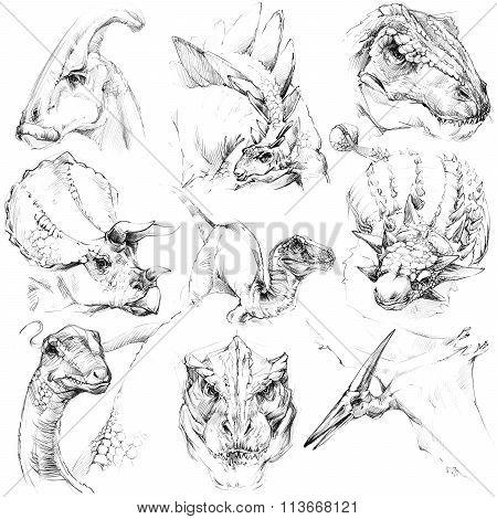 Dinosaur sketch set. Outline dinosaur jurassic period.