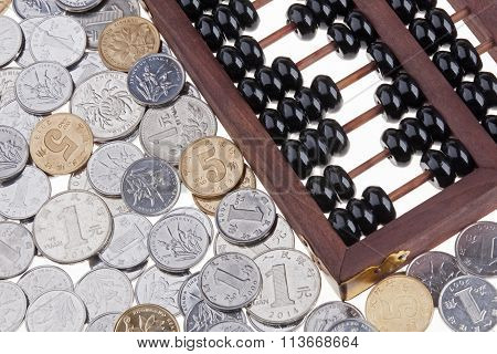 Old Wooden Chinese Abacus And Chinese Coins