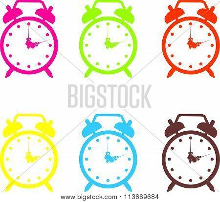 Set vector illustration of a alarm clock. art illustration cute