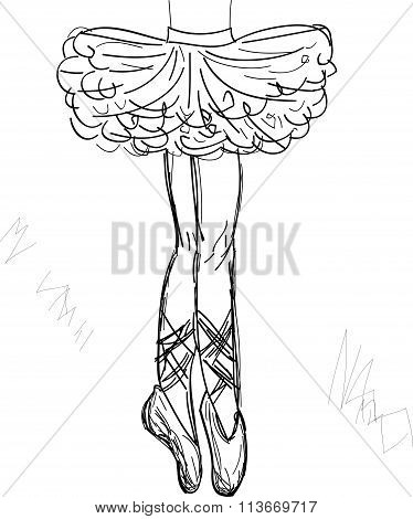Beautiful black and white drawing ballerina on a white backgroundsketchvector.