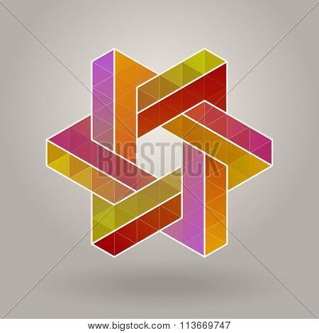 Abstract Vector Geometric Multicolor Hexagonal Star Shape Interlacing Polygons Logo
