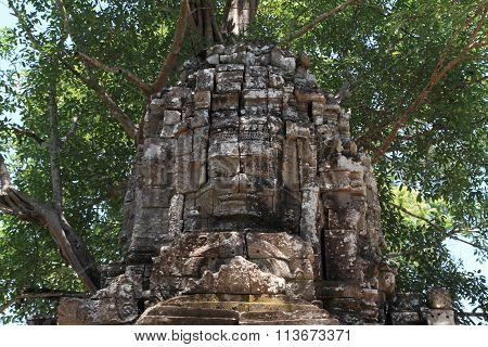Eastern gopuram at Ta Som in Angkor Siem Reap Cambodia