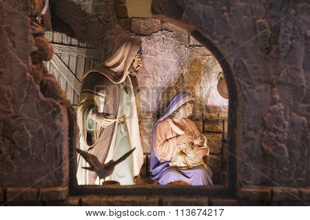 Jesus Being Breastfeed. Christmas Nativity Scene