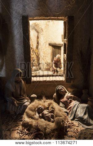 Birth Of Jesus. Christmas Nativity Scene