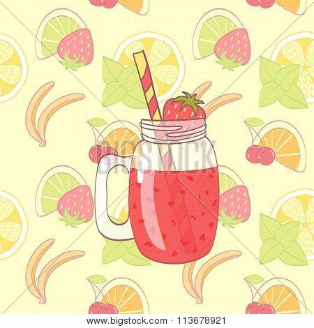 cartoon hand drawn mason jar with fruit smoothie on seamless pattern poster