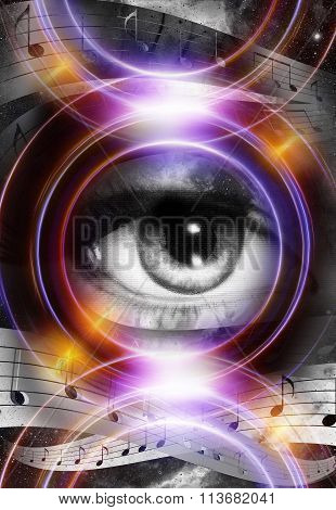 Woman Eye and music note and cosmic space with stars. Audio music speaker silhouette. abstract color