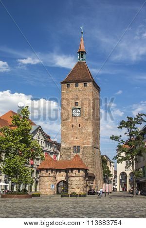 NUREMBERG, GERMANY - AUGUST 23, 2015: The White Tower (Weißer Turm) is located in the inner city close to St. Elisabeth's church