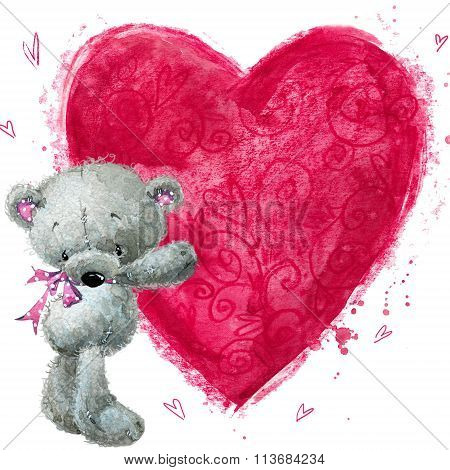 Teddy bear with the big red heart. Valentines greeting card. Love design. I love You card. Love post