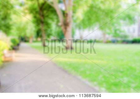 Defocused Background Of Gardens In Pimlico, London. Intentionally Blurred Post Production