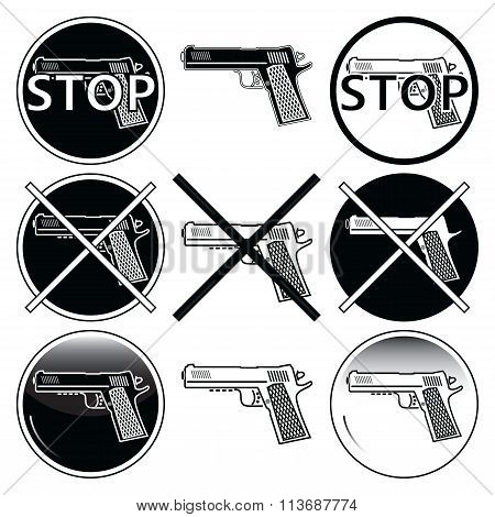Stop selling, use and illegal, underage use of guns icons sets in black and white with button
