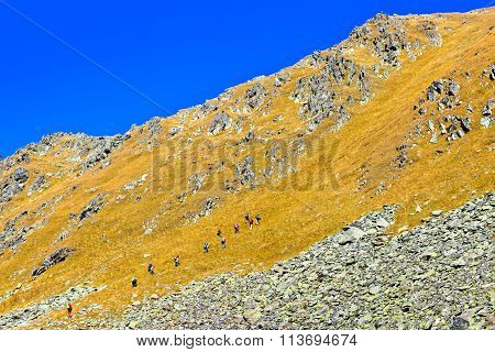 Group of tourists ascent to the mountain pass. Picture was taken during a trekking hike in the Caucasus mountains at autumn Arhiz region, Karachay-Cherkessia, Russia