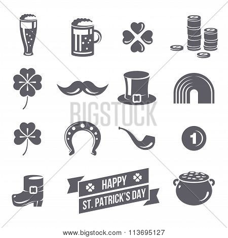 Patricks Day Icons Isolated on White Background