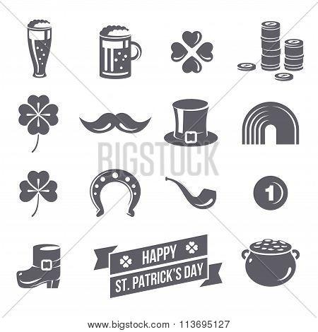 Patricks Day Icons Isolated on White Background