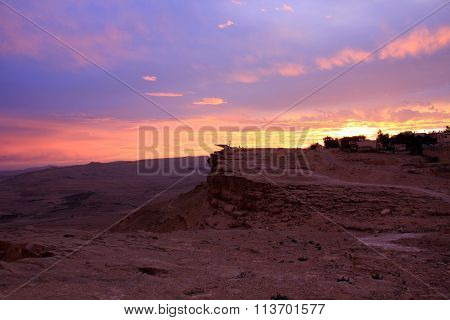 sunset in the Ramon Crater