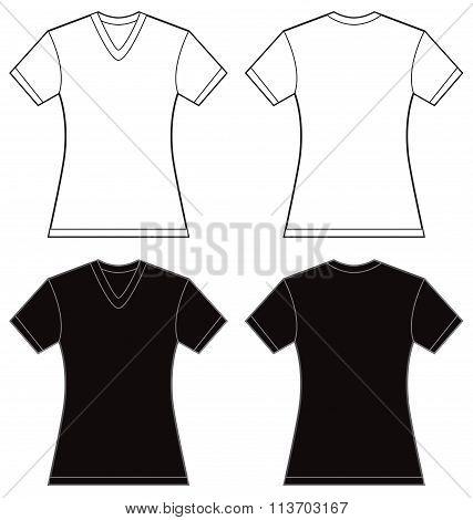 Black White Women's V-neck Shirt Design Template