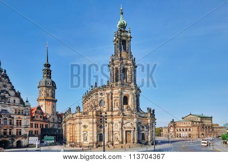 Dresden, Germany-september 08, 2015 : Theatre Square (theaterplatz) In The Historic Center Of Dresde