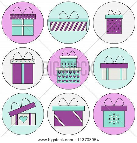 Present box isolated icons on colored background in circles.