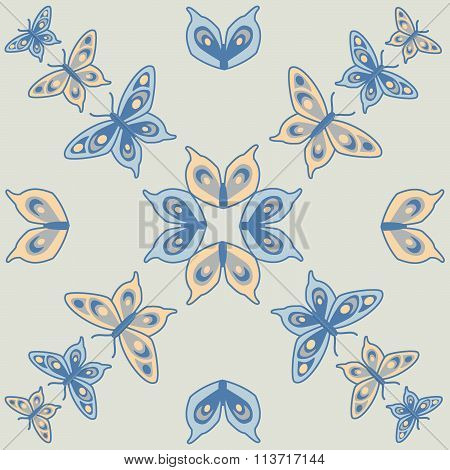 Butterfly seamless pattern blue cream