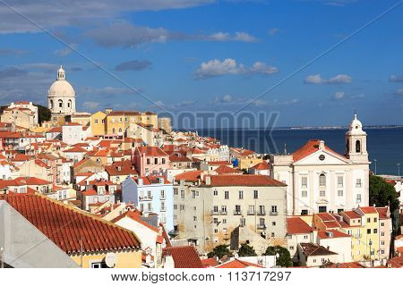 View across Alfama Lisbon from Miradouro Santa Luzia