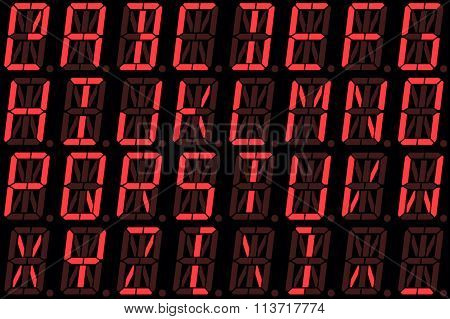 Digital Font From Capital Letters On Red Alphanumeric Led Display