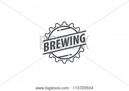 Brewing Company Logotype. Line art. Stock vector.