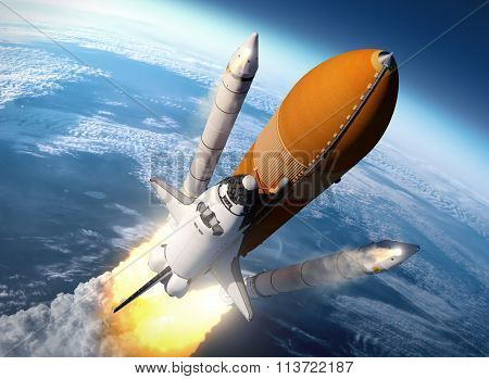 Space Shuttle Solid Rocket Boosters Separation. 3D Scene. poster